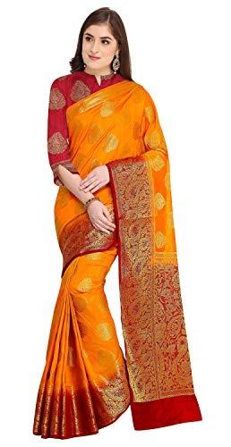 Rajnandini Women's Silk Zari Weaving Work Rich Pallu Kanjivaram Saree With Blouse (JOPLNS2007D_Mustard_Free Size)