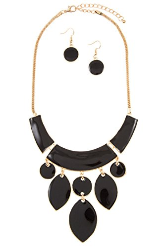 Karmas Canvas Acrylic Dangle Link Stone Mesh Chain Necklace Set (Gold/Black)