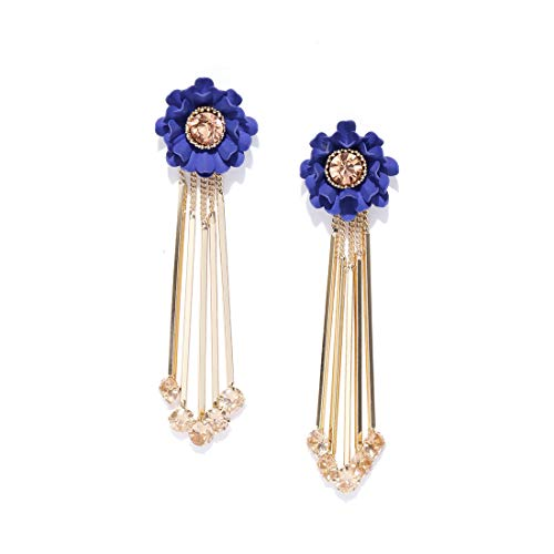 Jewels Galaxy Luxuria Copper   Crystal Rose Gold and Cubic Zirconia Drop Sticks Earrings for Women   Girls