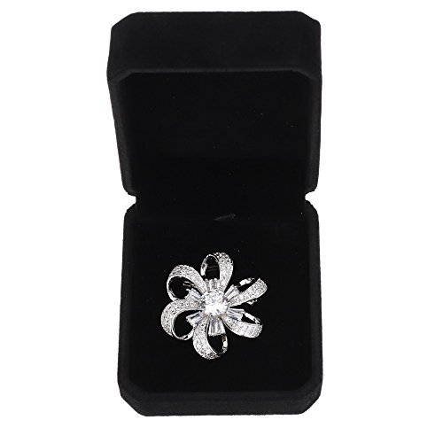 (SHINYTIME Women's Zircon Hex Floral Shape Fashion Handmade Brooch Pin with Clear Diamond for Gifts)