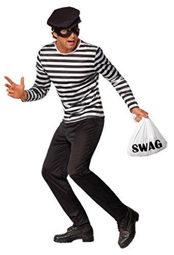 Smiffy's Men's Bank Robber Costume with Top Trousers Eyemask Cap and Swag Bag, Black/White, Large