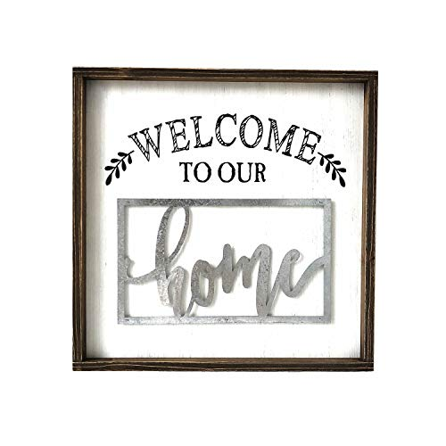 Paris Loft Welcome to Our Home Wooden and Metal Quote Plaque Sign Wall Greeting Sign Home Gifts ()