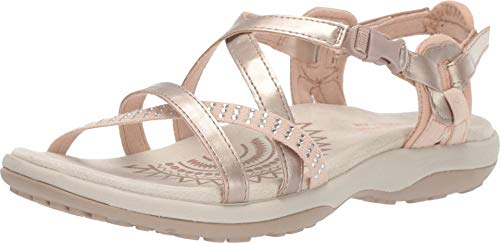(Skechers Women's Reggae Slim-Festivity-Strappy Adjustable Slingback Sandal, Rose Gold, 10 M US)