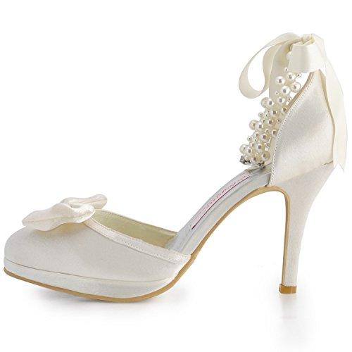 Minitoo ,  Damen Modische Hochzeitsschuhe Ivory-10cm Heel
