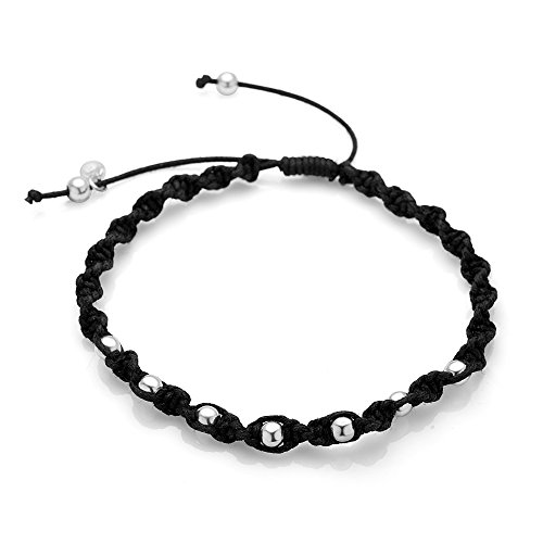 Sterling Silver Hand Woven Black Cotton Cord Silver Ball Beads Braided Unisex Cord Bracelet 6.5