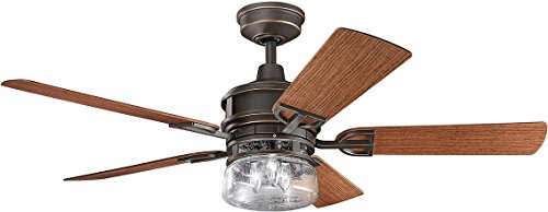 Kichler Lighting 310139OZ Lyndon Patio 52-Inch Olde Bronze Ceiling Fan with Dark Walnut/Medium Walnut Blades