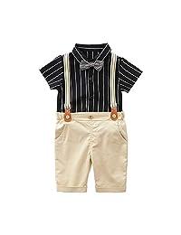 Bonda. Gentleman's Clothes, Boy's Black Shirt + bib Shorts + Bow tie + Suspenders Suit
