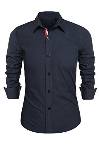 Detailorpin Men's Business Dress Shirt Slim Fit Contrast Button Down Long Sleeve Shirt by Detailorpin