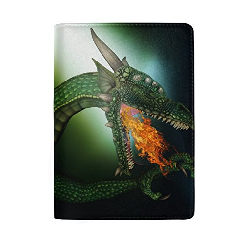 Green Dragon Real Leather Passport Holder Wallet Case Cover for Men Women (Dragon Leather Green)