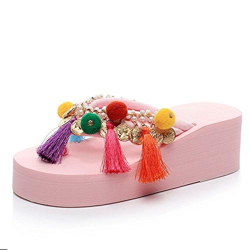 verano 5 rosa de Pink amarillento la de color del 5cm negro blanco cómodo azul femeninas Chanclas de tacón sandalias manera alto sandalias MEIDUO BzOxHO