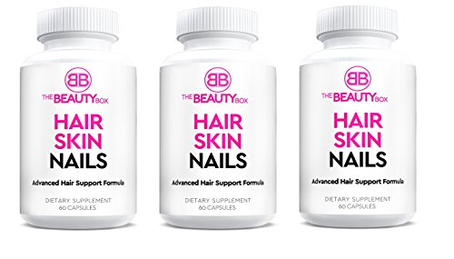 The Beauty Box Hair Skin and Nails Supplement with Biotin to Grow Faster Healthier, Thicker Hair and Strong Nails and Boost Glowing Skin, Helps Prevent Hair loss (3 pack)