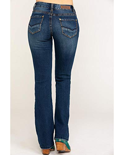 Mid Rise Bootleg Jeans - Rock & Roll Cowgirl Women's and Mid Rise Extra Stretch Bootcut Jeans Dark Blue 34W x 34L