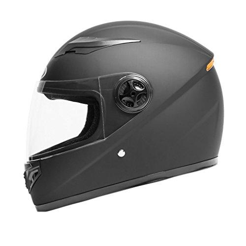 Helmet Motorcycle Male Female Four Seasons Universal Full Cover Electric Vehicle Safety Helmet Warmth Anti-Fog Full Face Helmet (Color : Matt black) by Moolo