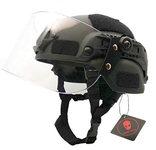 Airsoft Tactical MICH 2000 Military Paintball SWAT Police Helmet with Clear Riot Visor Face Shield Sliding Goggles & Side Rail NVG Mount Black
