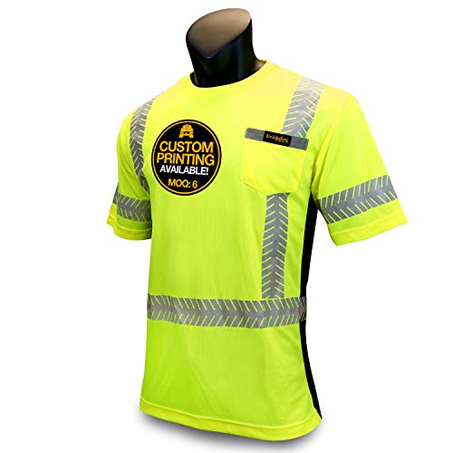 KwikSafety DISCOVERY | Class 2 Short Sleeve Safety Shirt | 360° ANSI Compliant Work Wear | Hi Vis Moisture Wicking Silver Fishbone | Men Women Construction Exercise Security | Yellow Large by KwikSafety