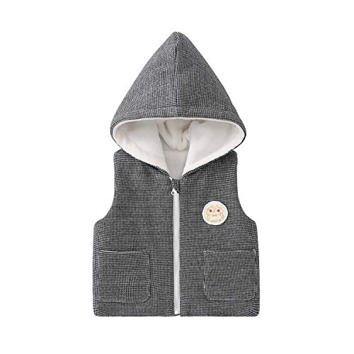 pureborn Baby Unisex Waistcoat Hooded Jacket Houndstooth Fleece Black Quilted Vest 1-2 Years