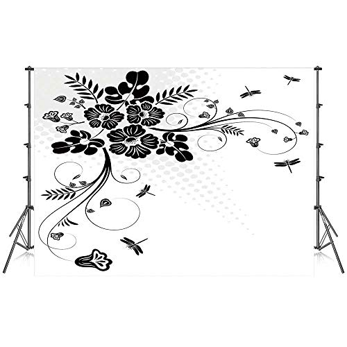 Dragonfly Stylish Backdrop,Floral Ornament with Fern Plants Leaves Nature Elegance Stylized Illustration Decorative for Photography Festival Decoration,59''W x 39''H