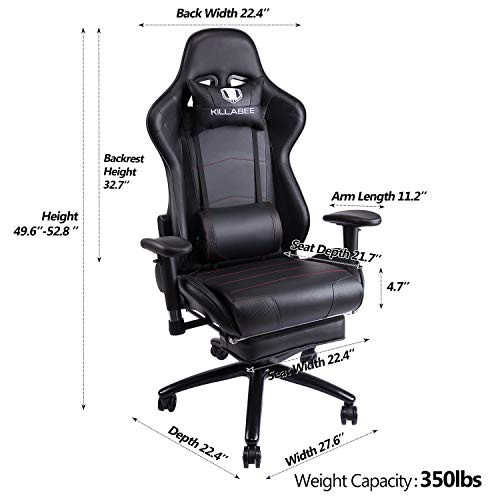 KILLABEE Big and Tall 350lb Massage Gaming Chair Metal Base - Adjustable Massage Lumbar Cushion, Retractable Footrest High Back Ergonomic Leather Racing Computer Desk Executive Office Chair by KILLABEE (Image #4)