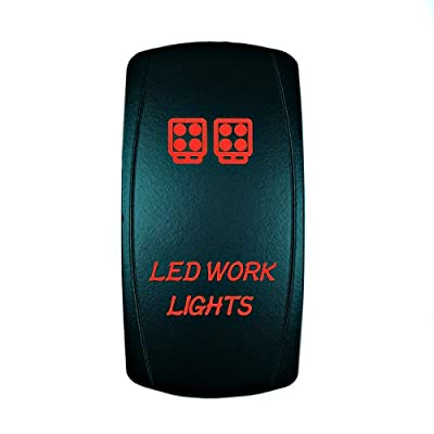 Universal Laser Rocker Switch Backlit WORK LIGHTS for Car Truck Boat ATV UTV 12V Bright Light Powersports (Red): Automotive