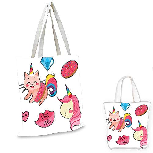 (Unicorn Cat easy shopping bag Cute Fantastic Icons for Girls Magical Characters Mythological Mascots small tote shopping bag Pink Multicolor. 12