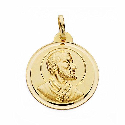 Médaille pendentif San Francisco Javier 18k de 22mm en or. lunette lisse [AA2520GR] - personnalisable - ENREGISTREMENT inclus dans le prix