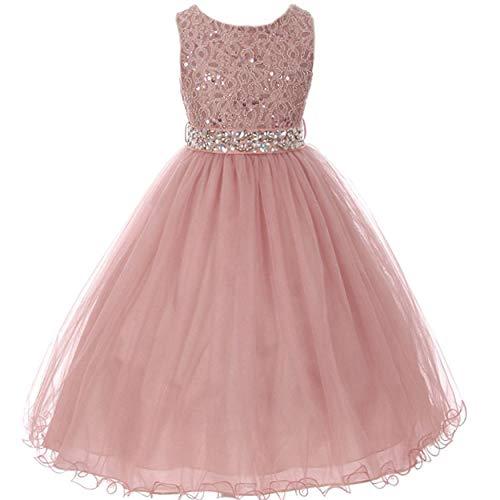 (EMERCLY Sleeveless Sparkling Rhinestone Waistline Tea Length Girls Dress - Mauve Size 12)