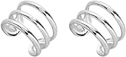 925 Sterling Silver Three (3) Band No Pierce Ear Cuff Wrap Earrings, Set of Two (2), 9 x 6mm