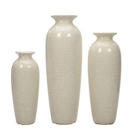 Large Product Image of Hosley's Set of 3 Crackle Ivory Ceramic Vases in Gift Box. Ideal Gift for Wedding or Special Occasions; for Use in Home Office, Decor, Floor Vases, Spa, Aromatherapy Settings O4