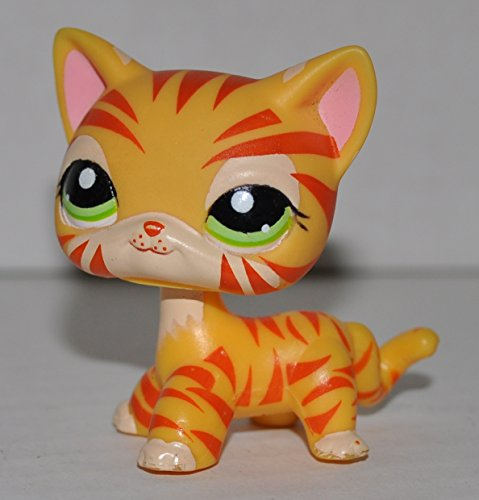 Tiger #1451 (Orange, Striped, Green Eyes) - Littlest Pet Shop (Retired) Collector Toy - LPS Collectible Replacement Single Figure - Loose (OOP Out of Package & Print) (Littlest Pet Shop 1451)