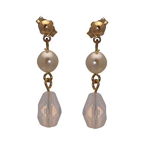 IVONNE Boucles d'or perle translucide Post oreilles