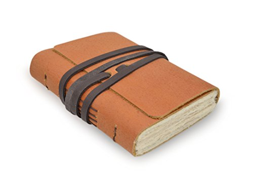 Nepali Pathfinder Leather Writing Journal with Vintage Handmade Lokta Paper, 4 x 5 Inch Notebook, Made in the Himalayas of Nepal, Small