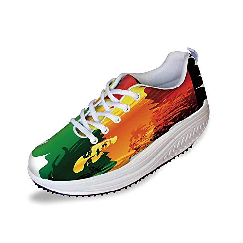 Rasta Stylish Shake Shoes,Iconic Reggae Music Singer Abstract Design with Sun and Palm Trees Decorative for Women,11 (The Best Turkish Singer)