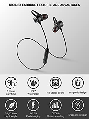 Diginex Bluetooth Earbuds Wireless Magnetic Headset Sport Earphones for Running IPX7 Waterproof Headphones 9 Hours Playtime High Fidelity Stereo Sound and Noise Cancelling Mic 1 Hour Recharge - Black