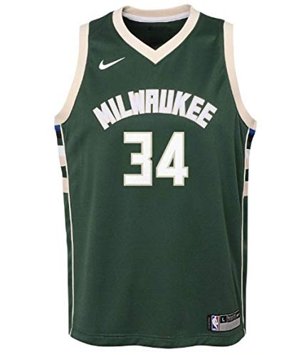 Nike Kids Giannis Antetokounmpo Milwaukee Bucks Icon Edition Green Swingman Basketball Jersey Size Medium