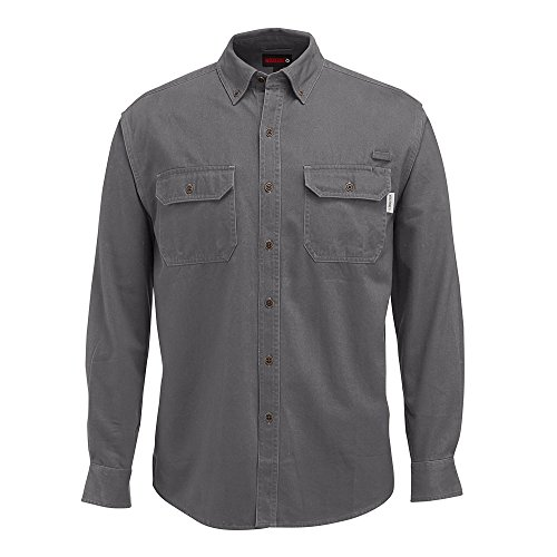 WOLVERINE Men's Fletcher Soft and Rugged Twill Long Sleeve Shirt, Granite, Large (Best Mens Shirts Untucked)