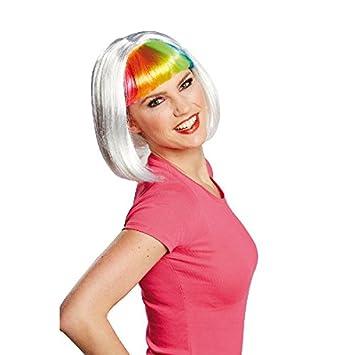 Para mujer peluca Daisy Paje real arco iris con Pony