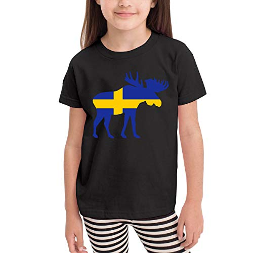 SHIRT1-KIDS Swedish Flag and Moose Costume Toddler/Infant Crew Neck Short Sleeve Shirt Tee Jersey for 2-6 Toddlers -