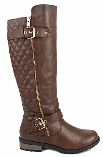 Forever Link Women's MANGO-21 Quilted Zipper Accent Riding Boots, Brown, 9