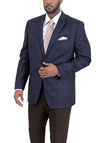 Ital Uomo Regular Fit Navy Herringbone Plaid Two Button Wool Blazer ()