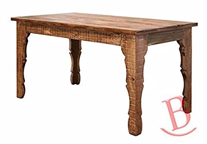 Rustic Eric 64u0026quot; Dining Table Multicolor Finish Real Wood Cabin
