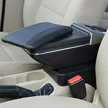 Car ABS + Leather Wrapped Armrest Box Storage Organizer Auto Cup