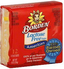 BORDEN CHEESE SLICES AMERICAN SINGLES LACTOSE FREE 8 OZ PACK OF 3
