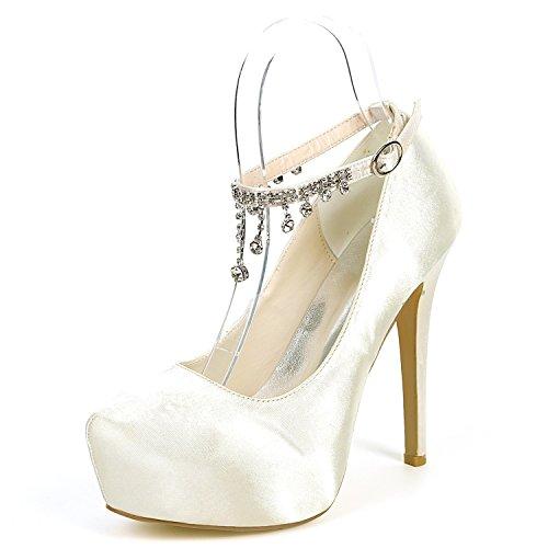 De YC L Chunky MariéE Femmes Lace Plateforme Hauts Talons Mariage Satin 5cm Stiletto Chaussures 12 De Ivoire qEqrS4B