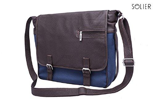 Solier - Bolso al hombro para hombre marrón/azul marino