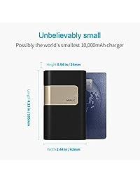 Batería externa USB de 10000 mAh compacta con 18 W de entrega de energía tipo C Cargador portátil construido en cables, iWALK QC 3.0