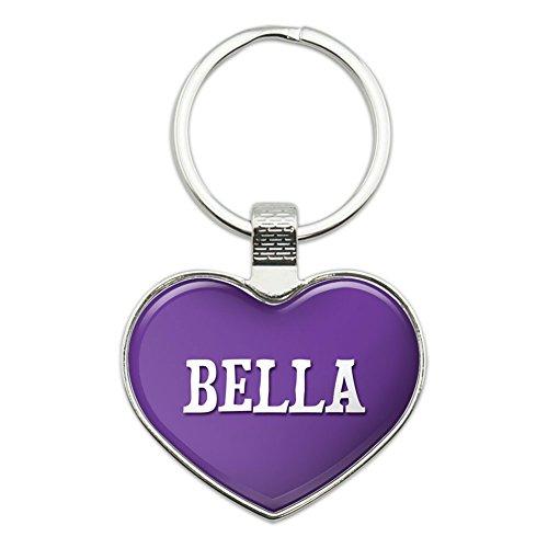 (Graphics and More Metal Keychain Key Chain Ring Purple I Love Heart Names Female B Baba - Bella)