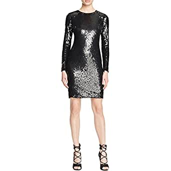 Parker Womens Axel Sequined Long Sleeves Cocktail Dress Black L