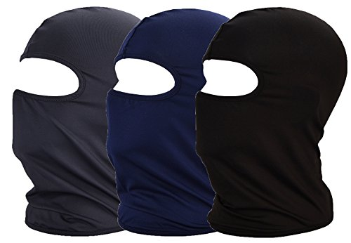 Balaclava UV Protection Face Masks for Cycling Outdoor Sports Full Face Mask Breathable 3pack (Black +Navy Blue+Dark Grey 3-Pack)