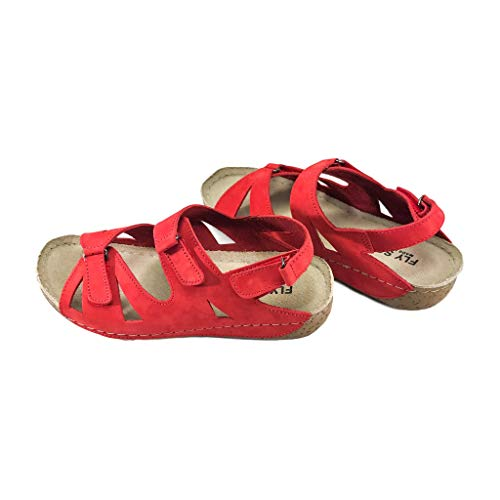 Fly Soft Lilly Women Casual Nubuck Leather Comfort Arch Supportive Wedge Sandals Trends Shoes (8, Red)