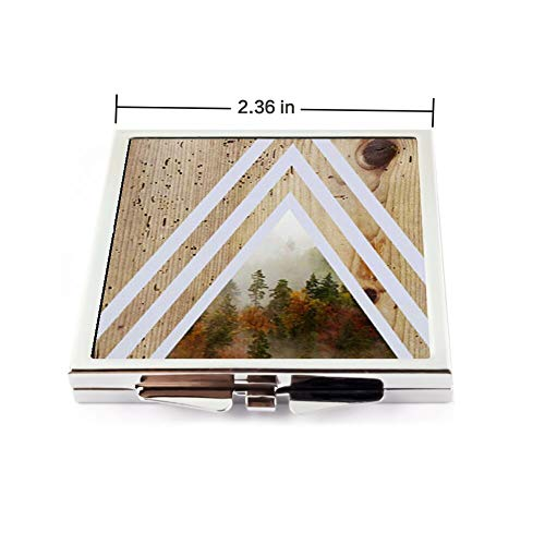 Square Make Up Mirror Small Fold Planar Mirror for Purse Pocket Forest -